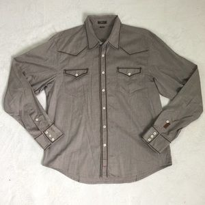 [7 For All Mankind]XL Brown Western Button Up
